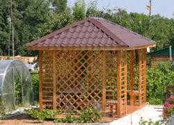 Конструирование четырехскатной крыши для беседки